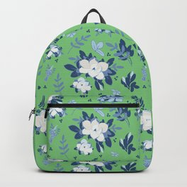 Spring Magnolia Fleurs Green Backpack