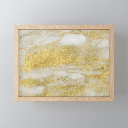Marble - Glittery Gold Marble and White Pattern Framed Mini Art Print