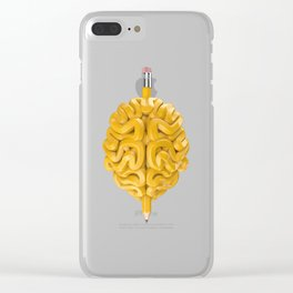 Pencil Brain Clear iPhone Case