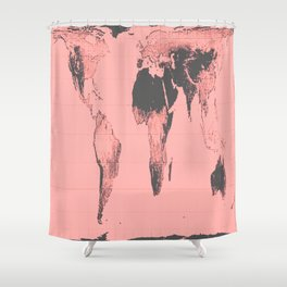 World Map: Gall Peters Pink Shower Curtain