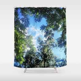 Blue Through the Trees Shower Curtain