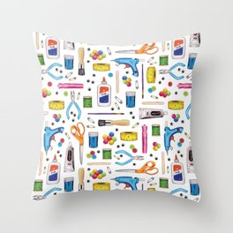 Cute & Crafty - Fun Pattern For Crafters w/ Colorful Craft Supplies Throw Pillow
