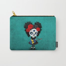 Day of the Dead Girl Playing Barbados Flag Guitar Carry-All Pouch