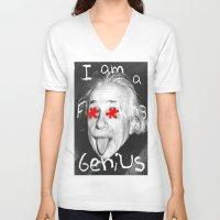 einstein V-neck T-shirts featuring Einstein  by Hijack:D