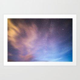 Pink Blue Glitter Galaxy Art Print