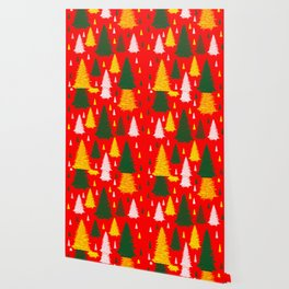 green gold silver Christmas trees on red background Wallpaper