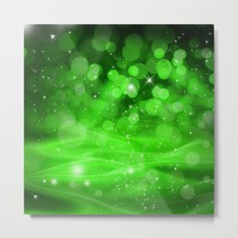Whimsical Green Glowing Christmas Sparkles Bokeh Festive Holiday Art Metal Print