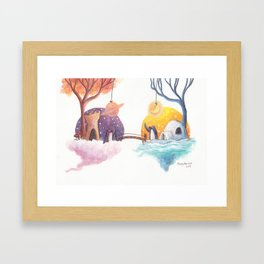 Penguins and their Bridge Between Sky Castle and Igloo with Ocean Framed Art Print