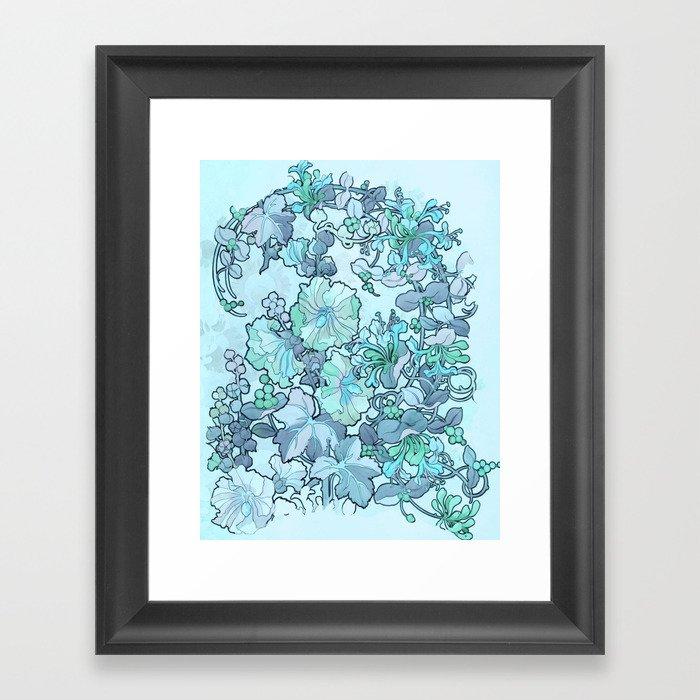 """Alphonse Mucha """"Printed textile design with hollyhocks in foreground"""" (edited blue) Gerahmter Kunstdruck"""