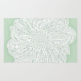 Single White Dahlia Lino Cut, Soft Sage Green Rug
