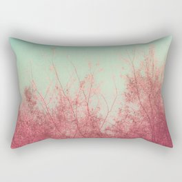 Harmony (Mint Blue Sky, Coral Pink Plants) Rectangular Pillow