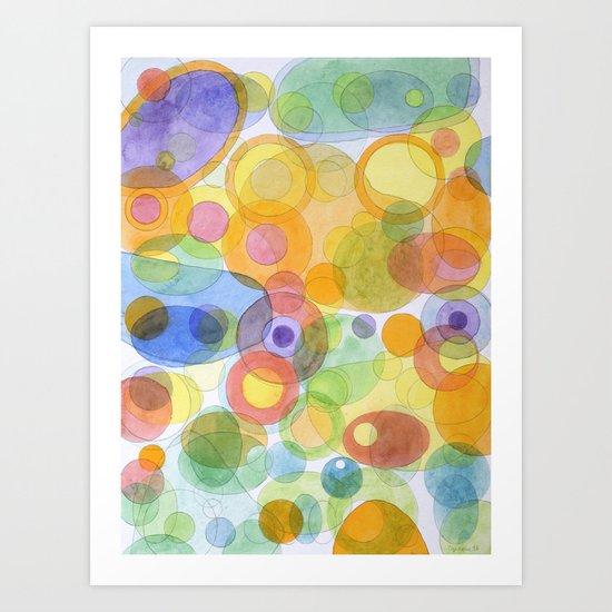 Vividly interacting Circles Ovals and Free Shapes Art Print