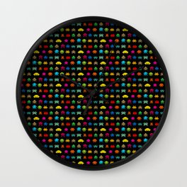 Invaders of Space retro arcade video game pattern design Wall Clock