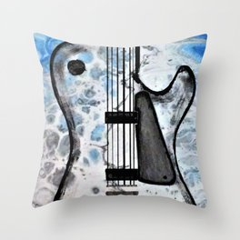 Guitar Art. Featured on back cover of The Music and Art of Black Cat Records. Throw Pillow