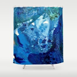 Environmental Blue Leaves, Tiny World Collection Shower Curtain