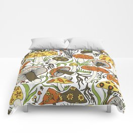 Hand-drawn Mushrooms Comforters
