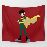 robin Wall Tapestries featuring Robin by karla estrada