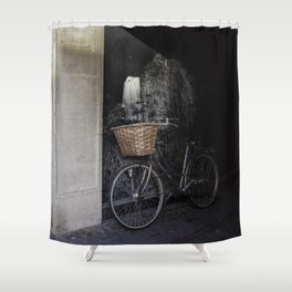 Bicycle Against Splattered Wall Shower Curtain