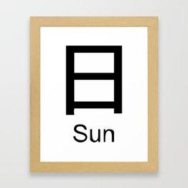Sun Japanese Writing Logo Icon Framed Art Print