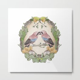 Watercolor Woodland Birds Jays in a Forest Plants , Blackberries Ivy and Fungi Mushroom Frame Metal Print