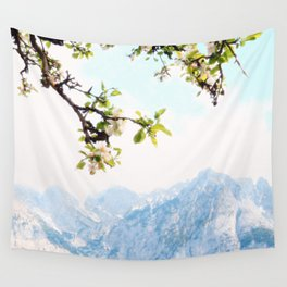 Pastel Apple Blossoms and Mountains Wall Tapestry
