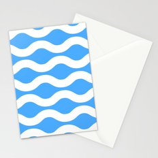 Wavey Lines White & Blue Stationery Cards
