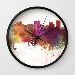 Manila skyline in watercolor background Wall Clock