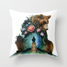Flower & Bear Throw Pillow