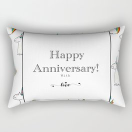 Happy Anniversary unicorn design Rectangular Pillow