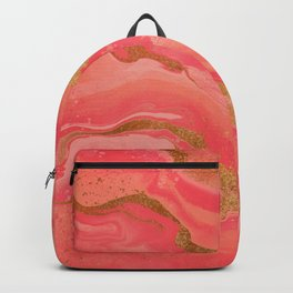 Coral and Gold Liquid Art Backpack