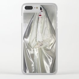 """say no to patriarchy / """"the virgin"""" Clear iPhone Case"""