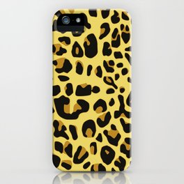 Hipster black yellow brown leopard animal print iPhone Case