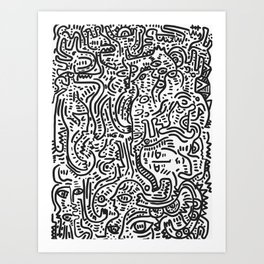 Black and White Graffiti Christmas Party with Creatures  by Emmanuel Signorino Art Print