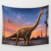 dinosaurs Wall Tapestries featuring Jurassic Dinosaurs by FantasyArtDesigns
