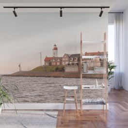 Lighthouse At Sunset Sea View Photo | Coast Of Dutch Village Urk Art Print | Europe Travel Photography Wall Mural
