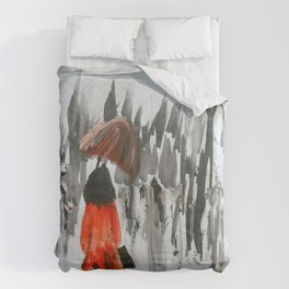 The Girl In The Red Rain Coat (Part 3)  Fine Art Acrylic Painting Comforters