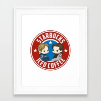 stucky Framed Art Prints featuring Starbucks - Steve Rogers and Bucky Barnes Iced Coffee  by BlacksSideshow