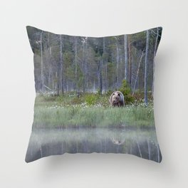 Wild brown bear and its reflection in forest creek Throw Pillow