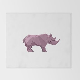 Origami Rhino Throw Blanket