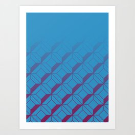 Squares in Blue Art Print