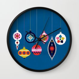 Retro Christmas Baubles on a dark background Wall Clock