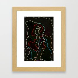 Collapsing Woman Framed Art Print