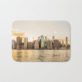 New York skyline at sunset Bath Mat