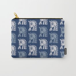 Mid Century Horse Pattern Blues Carry-All Pouch
