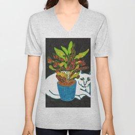 Cat with House Plant Unisex V-Neck