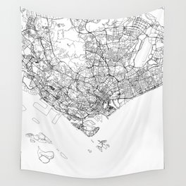 Singapore White Map Wall Tapestry