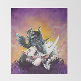 Sunset friends, Unicorn and Dragon Throw Blanket
