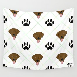 Brown Lab Paw Print Pattern Wall Tapestry