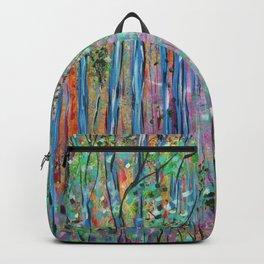 Teal Blue Abstract Forest Landscape, Forest Secrets, Fantasy Fairy Art Backpack