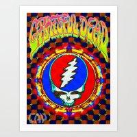 grateful dead Art Prints featuring Grateful Dead #8 Optical Illusion Psychedelic Design by CAP Artwork & Design